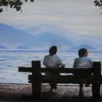 "Friends, Ubatuba Boardwalk, Brazil | Pastel on Paper | 12"" x 17.5"""