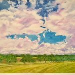 """Big Sky Summer Orchard - Watercolour on Canvas - 24"""" x 30"""""""