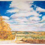 "Big Sky Autumn Road - Watercolour on Canvas - 24"" x 30"""