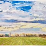 """Big Sky Spring Wheat - Watercolour on Canvas - 24"""" x 30"""""""