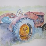"Well-Loved Tractor | Watercolour on Watercolour Canvas | 12"" x 12"""