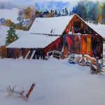 "Winter Barn | Watercolour on Watercolour Canvas | 22"" x 28"""
