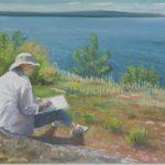 "Portrait of an Artist: HMC at Groscap | Pastel | 9"" x 13"" | $260"