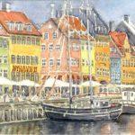 "Copenhagen Harbour | Watercolour | 15"" x 18"" | $350"