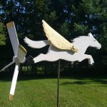 "Pegasus Whirligig | Wood and Steel | 23"" x 10"" x 18"" 
