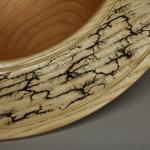 Bowl | Black Cherry (bottom), Ash (rim), Lichtenberg Fractal Burn on rim | 14 inches | $195