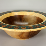 Bowl | Black Walnut (bottom), Ash (rim) and black walnuts in resin | 15 inches | $250