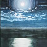 "Full Moon Over the Atlantic, Florida | Watercolour | 22"" x 15"" 