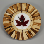 Clock | Maple, Ash, Cherry and Walnut with Crimson Maple Leaf in Resin | 13 inches | $150