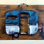 "Vintage Boler | Wall Sculpture | Flat Sheet Metal | 12"" x 16"" 